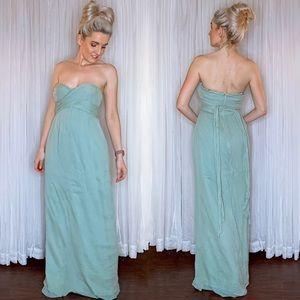 Green Silk J Crew Formal Bridesmaid Gala Dress